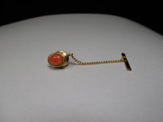 14k Gold And Coral Anson Tie Pin