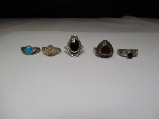 Group Lot Of 5 Vintage Sterling Silver Rings