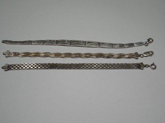 Three Vintage Sterling Silver Bracelets