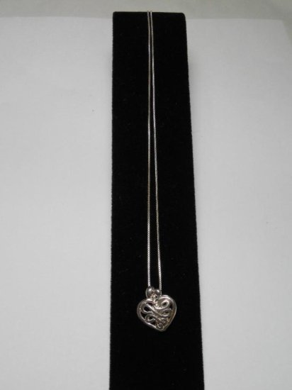 Vintage Sterling Silver Heart Pendant On Chain