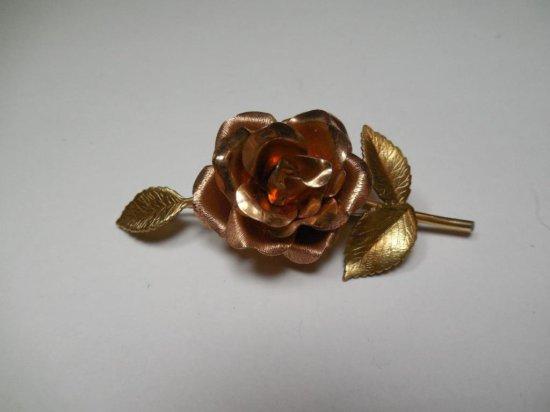 Vintage Krementz Costume Jewelry Rose Brooch