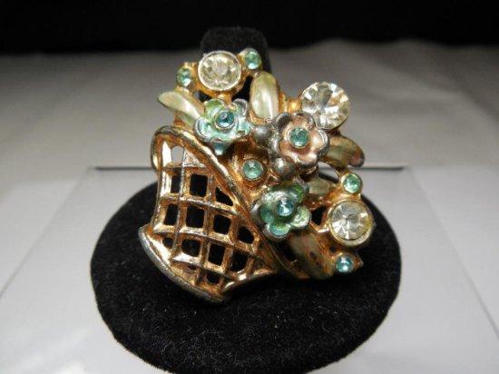 Vintage Rhinestone Costume Jewelry Brooch