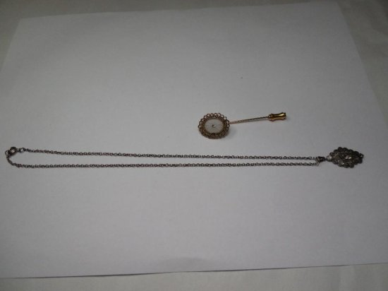 2 Vintage Costume Jewelry Pieces - Stick Pin, Necklace