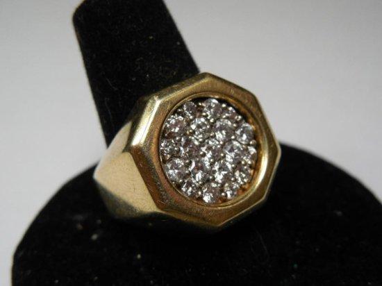 Huge Blingy 14k Gold + 1 Ctw Diamond Men's Ring - 12.71 Grams
