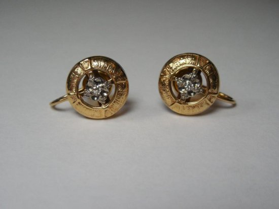 Finely Made 10k Gold And Diamond Earrings