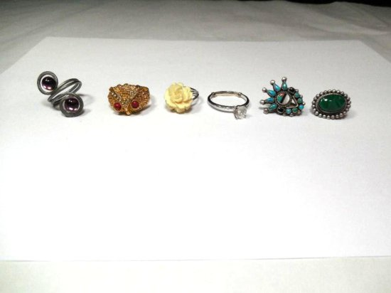 Group Lot Of 6 Pieces Of Vintage Jewelry Including Sterling Silver