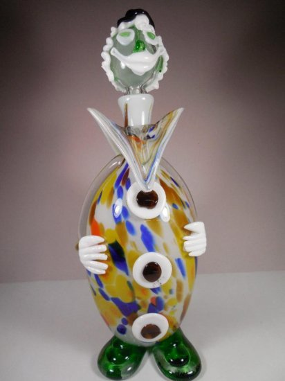 Vintage Murano Glass Clown Decanter Bottle