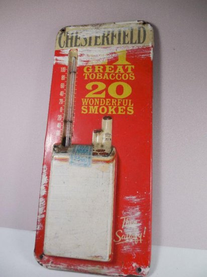 Small Vintage Chesterfield Cigarettes Thermometer Metal Sign