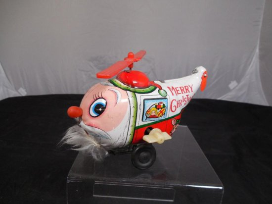 Unusual Wind Up Tin Santa Helicopter In Working Condition
