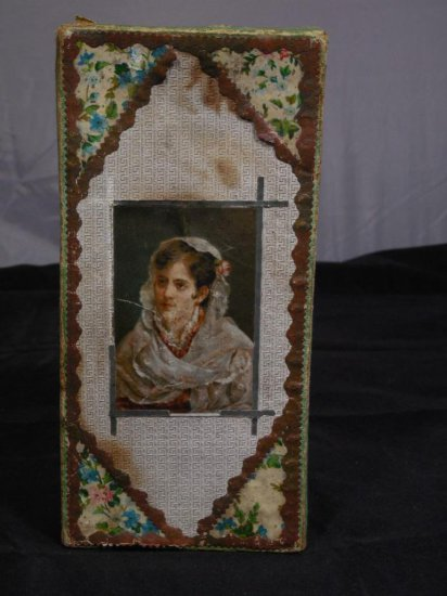 Dresden Handkerchief Box W/litho Image Of A Lady