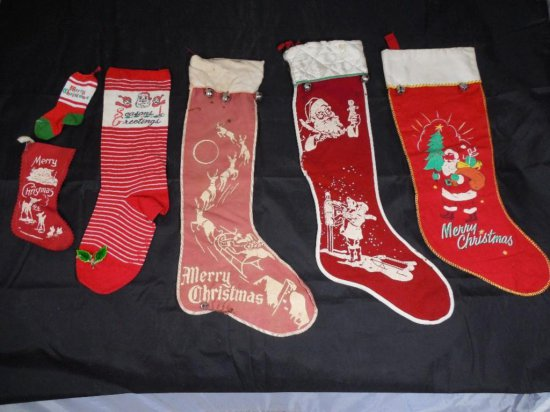 Group Lot Of Vintage Christmas Stockings
