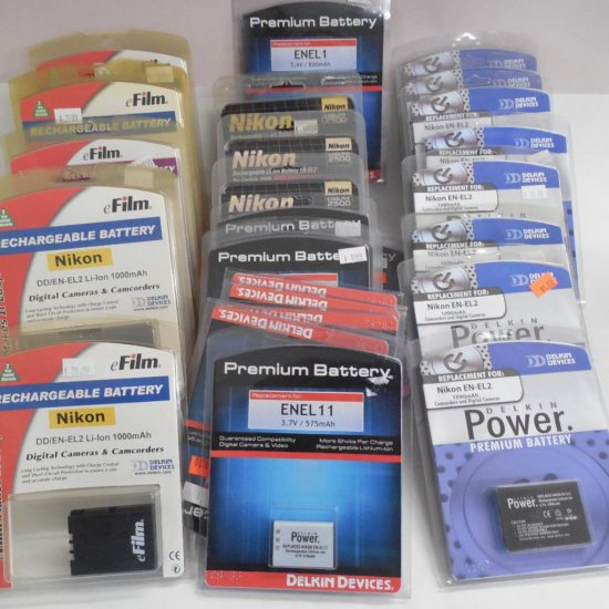 Large Group Lot Of Camera Batteries In Packaging