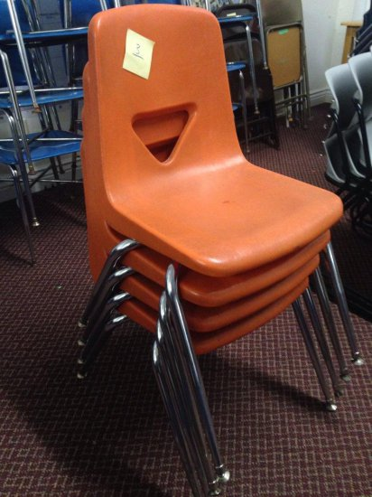 Group Of 4 Vintage Plastic And Metal Chairs