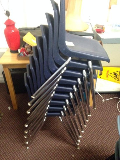 Group Of 9 Plastic And Metal Chairs