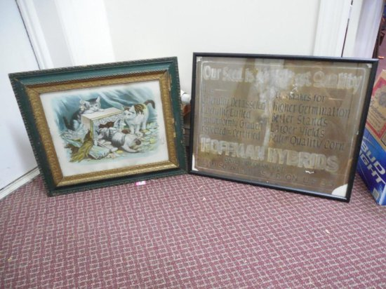 Two Old Framed Pieces - Cats And Advertising