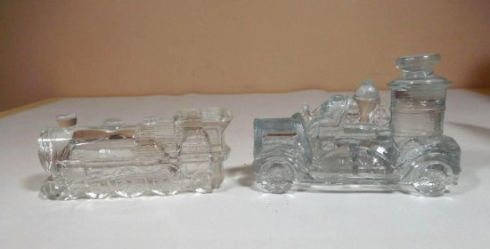 2 Nice Glass Candy Containers - Train And Fire Engine