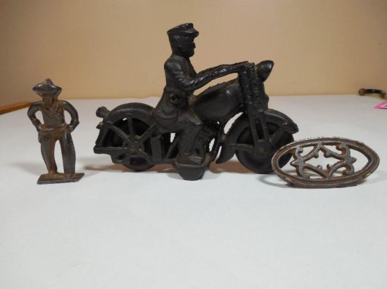 Cast Iron Toy Etc Group Lot - Motorcycle, Cowboy Etc