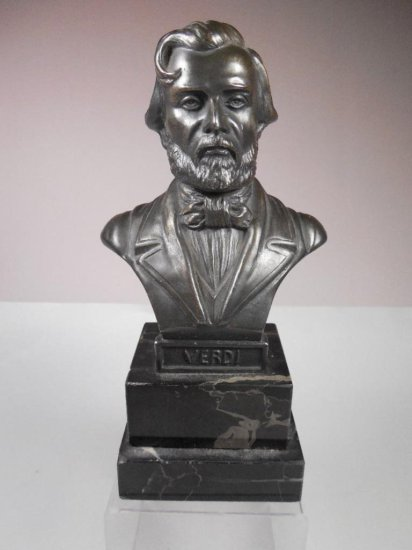 Antique Bust Statue Of Verdi In Metal W/marble Base
