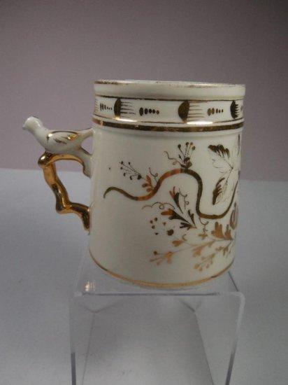 Antique Ceramic Mug W/gold Trim Bird Whistle On Handle