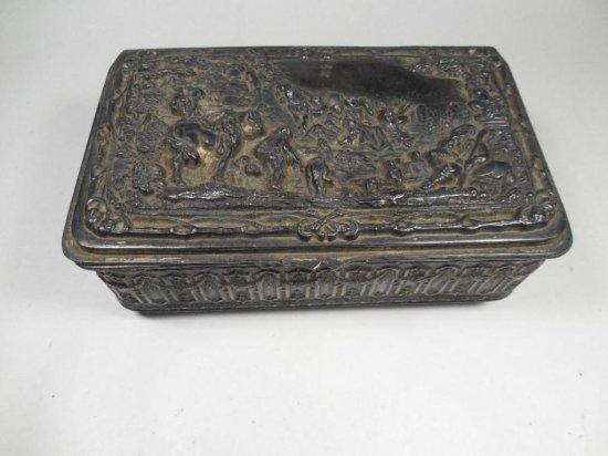 Nice Antique Metal Jewelry Box By Jb