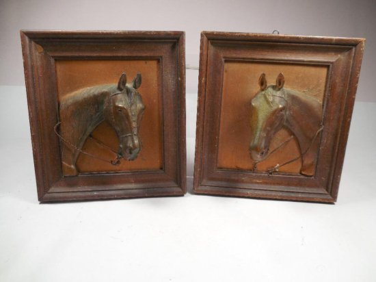 Two Antique Horse Plaques Three Dimensions Copper