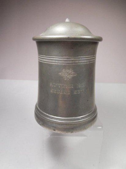 "Early Glass Bottom Pewter Award Mug ""second Net"" 1911"