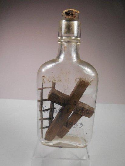 Unusual Antique Folk Art Bottle Carved Cross Ladder