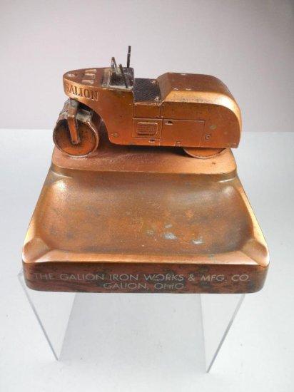 Unusual Antique Steam Roller Iron Works Galion Ohio Ashtray