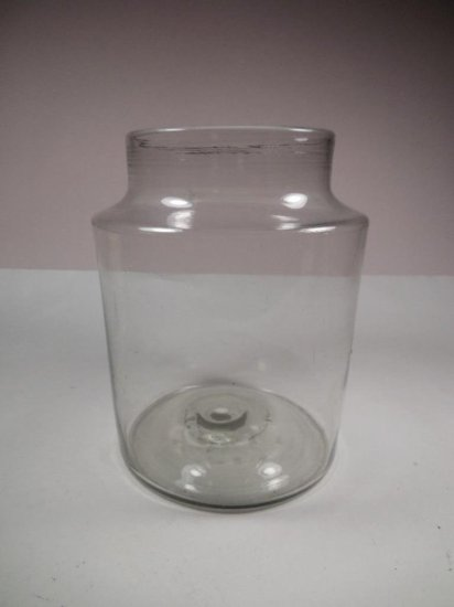 Early Antique Counter Jar W/blown Glass Pontil