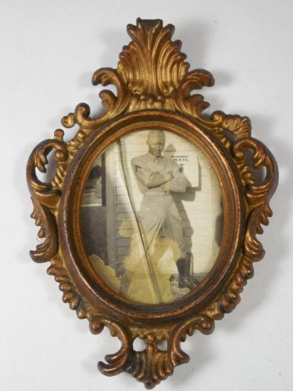 Wwii Photo Of Black Soldier In Small Picture Frame