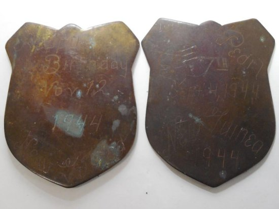 2 Antique Wwii Engraved Plaques New Guinea