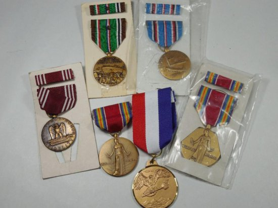Group Lot Of 6 Military Medals On Ribbons
