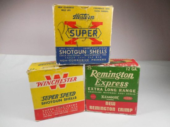 3 Antique Shotgun Shell Ammo Cardboard Boxes