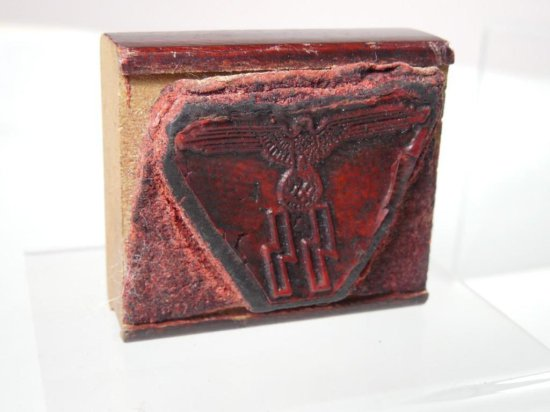 Nazi German Ss Eagle Swastika Rubber Stamp On Wood Block