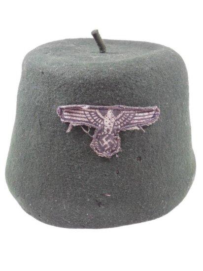 Green Nazi German Fez Felt Hat