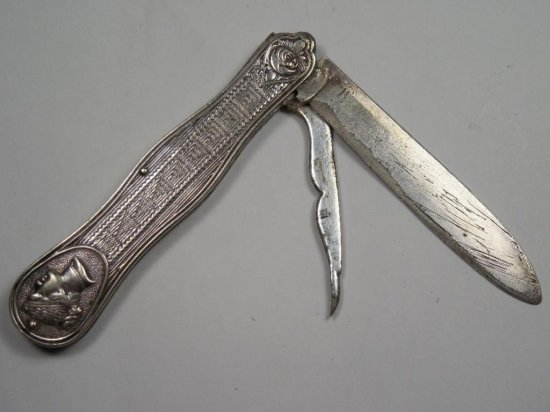 Early Antique Sterling Silver Fruit Knife w/Two Blades Nice Design