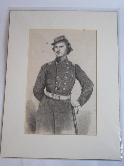 Early Lithograph Print of a Civil War Officer