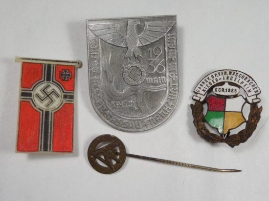 Group lot of 4 Nazi German Tinnies and other articles