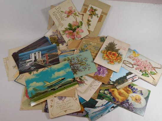 Large group lot of vintage postcards
