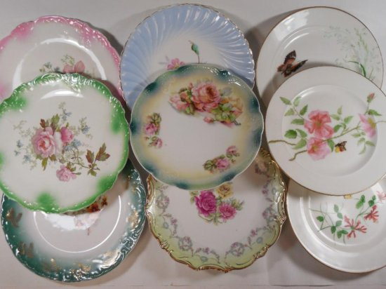 Group lot of 9 antique painted china plates