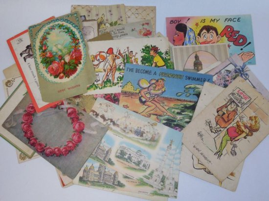Large lot of vintage postcards