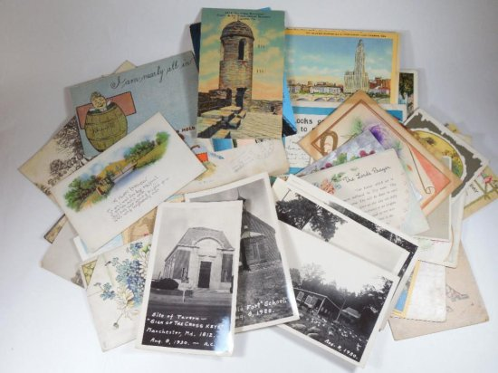 Large lot of vintage postcards and paper