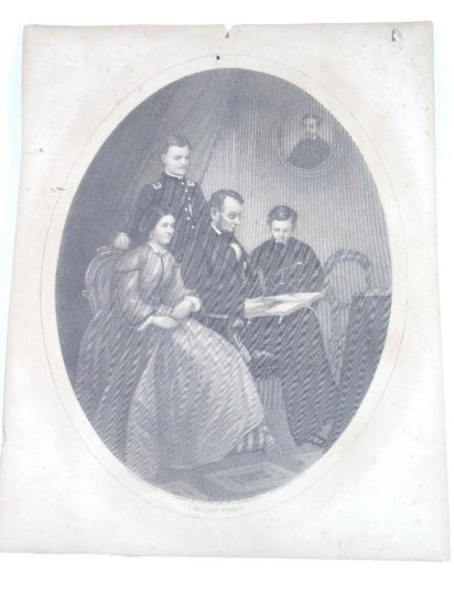 Rare early 1860s Abraham Lincoln and Family Lithograph