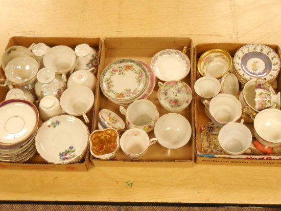 3 Flats Of Vintage China Inc. Cups And Saucers