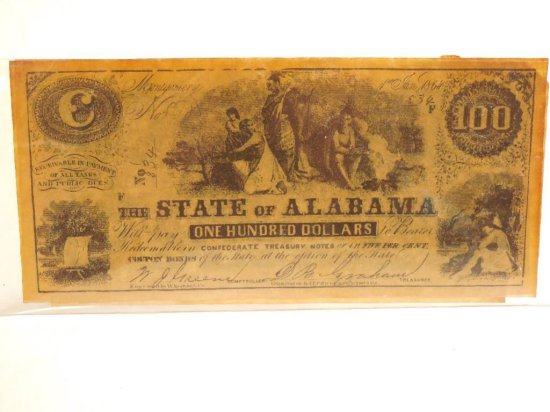 Repro Confederate Alabama $100 Bank Note/bill