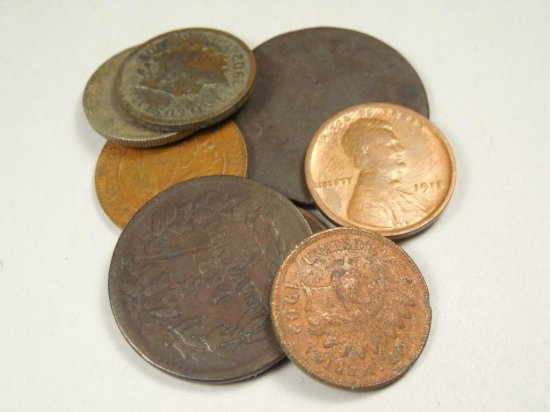Old Coin Group Lot Inc. Large Cent, Indian Head Etc