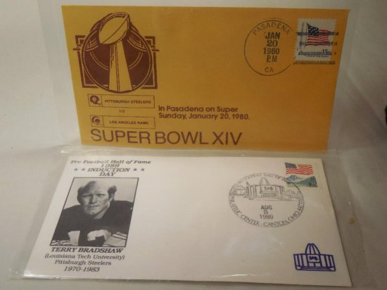 2 Super Bowl And Football Related First Day Stamped Covers