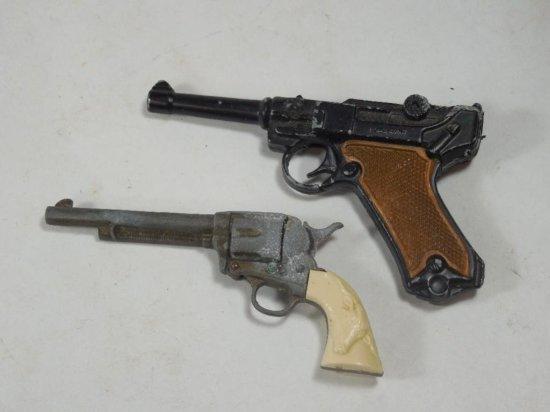 2 Vintage Cap Guns Inc. Luger And Colt Revolver