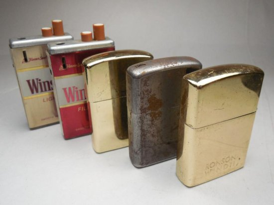 Group Lot Of 5 Lighters Inc. Winston Cigarette Pack Advertisers