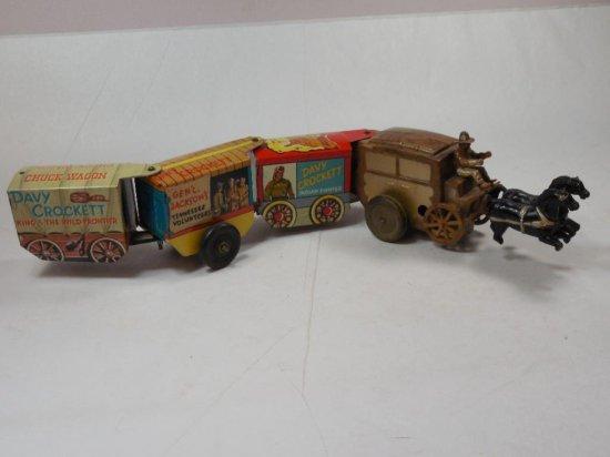 Antique Davy Crockett Tin Wagon Train Toy